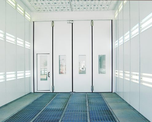 CV Spray Booth Internal View Twin Booth Division Doors