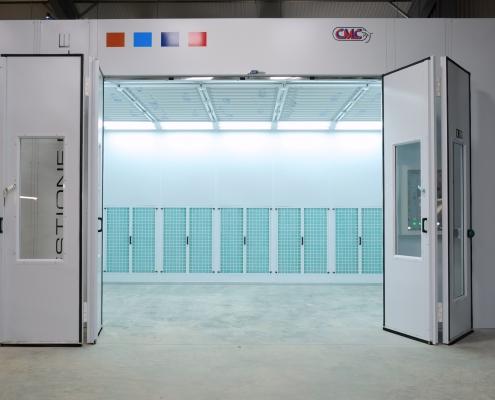 Custom Side Extraction Booth Doors Open